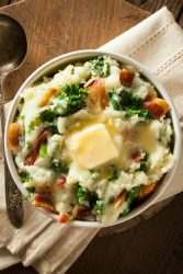 Homemade Irish Potato Colcannon with Greens and Pork