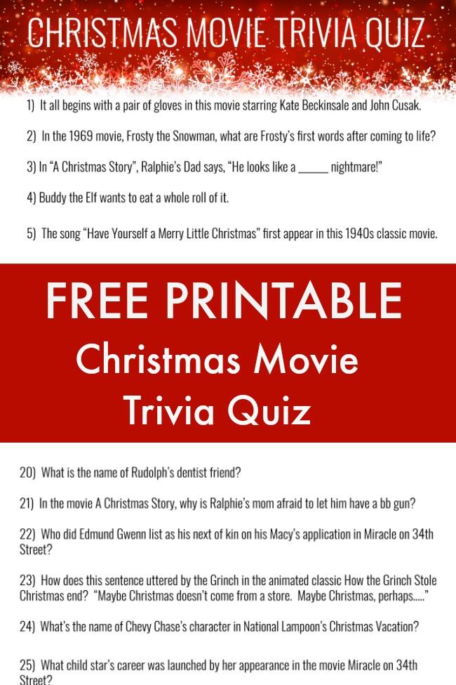 free printable Christmas movie trivia quiz