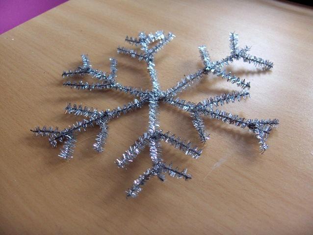 Chenille stem snowflake