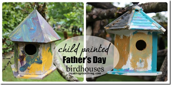 child painted father's day birdhouses