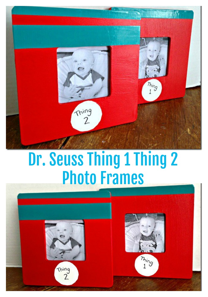 DIY dr seuss thing 1 thing 2 photo frames