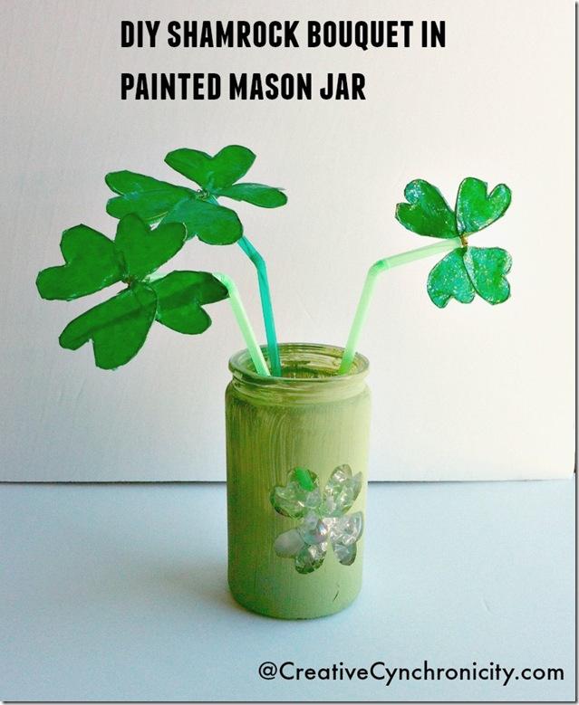 DIY-shamrock-bouquet-in-painted-mason-jar-St-Patricks-Day