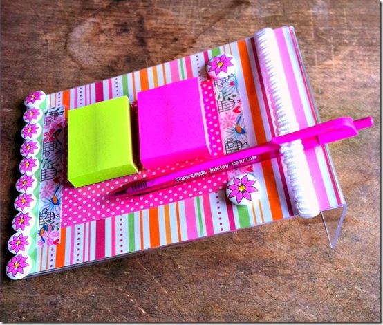 Easy, inexpensive, and quick to make sticky note memo holder. Great teacher's gift.