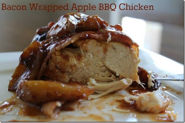 Yummy bacon wrapped apple BBQ chicken in a slow cooker