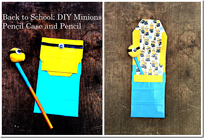 Back to school DIY Minions Duct Tape Pencil Case You Can Make in 15 Minutes or Less and Minions Pompom Pencil Topper You Can Make in 5 Minutes or Less