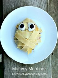 Halloween Mummy Meatloaf Recipe - tastes like a variation of spaghetti and meatballs