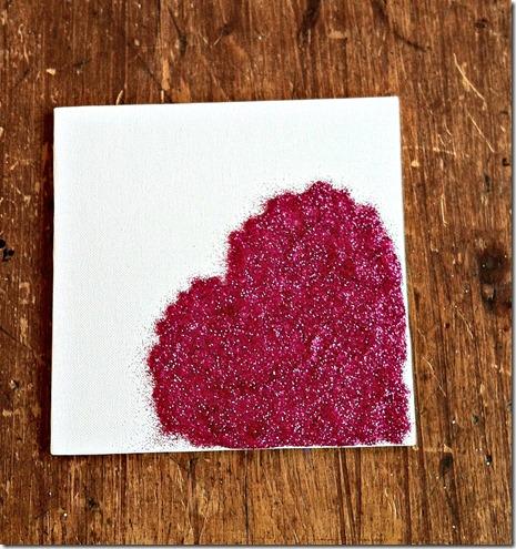 glitter heart canvas first layer