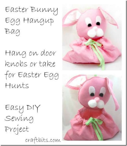 easter bunny fabric bag to hang on door knobs or use for egg hunts