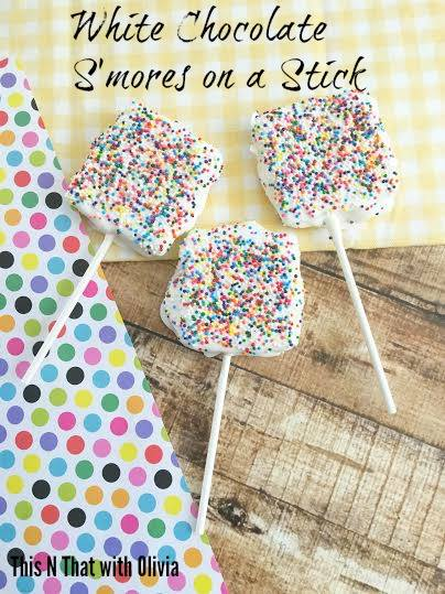 All the fun of s'mores with much less mess. These white chocolate smores on a stick are sure to be a hit with your family this summer.