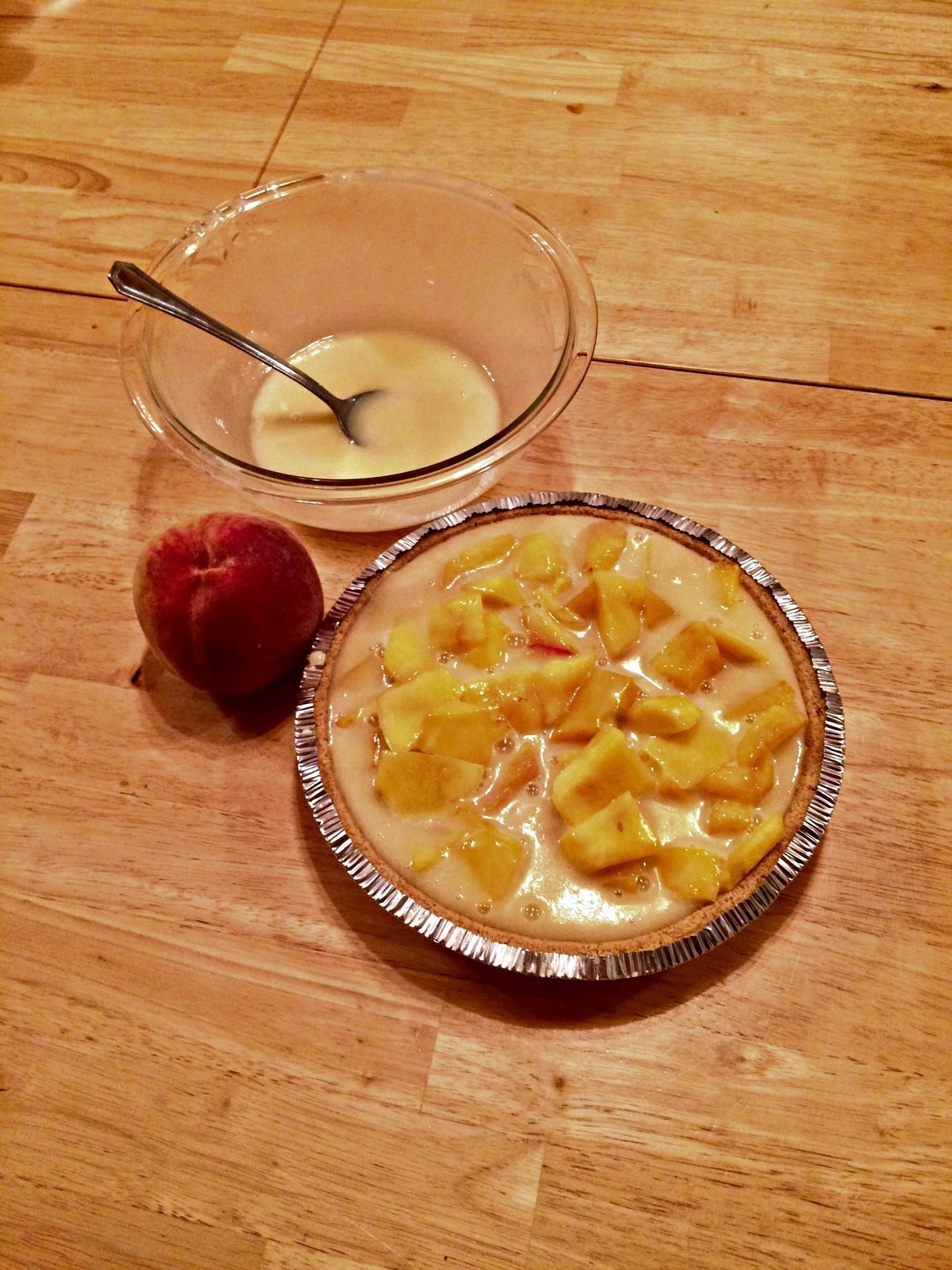 Peaches and cream pie in process