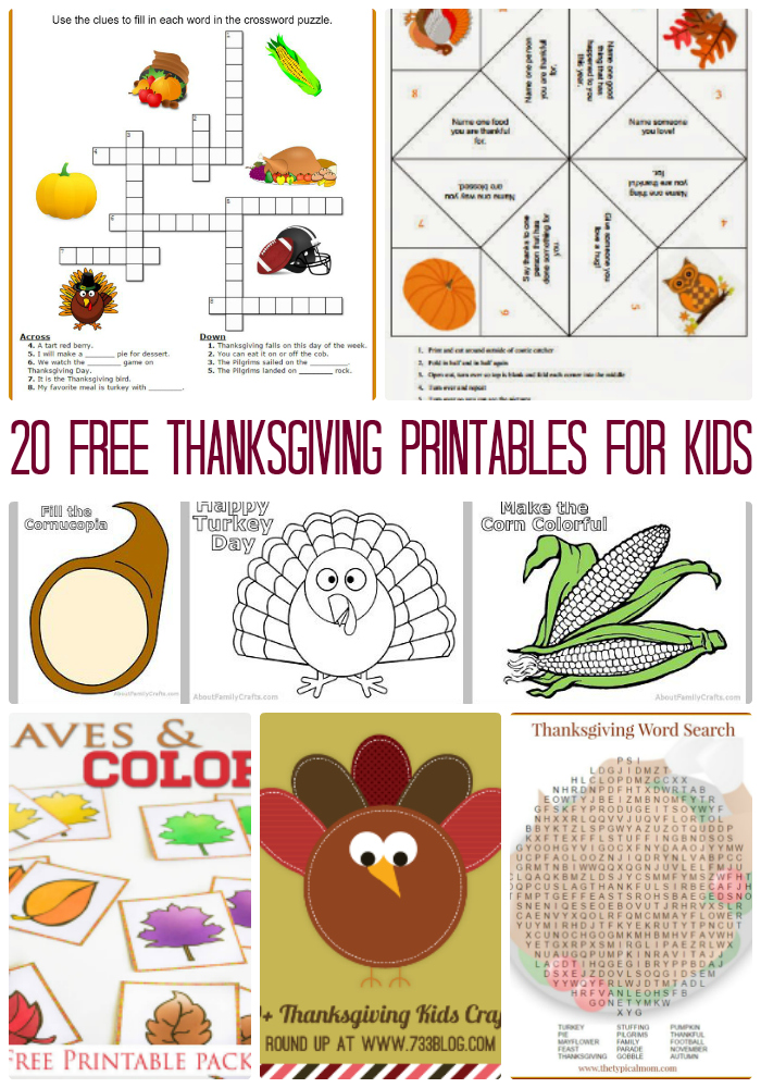 20 Free 12 Granny Square Crochet Patterns: 20 Free Thanksgiving Printables For Kids