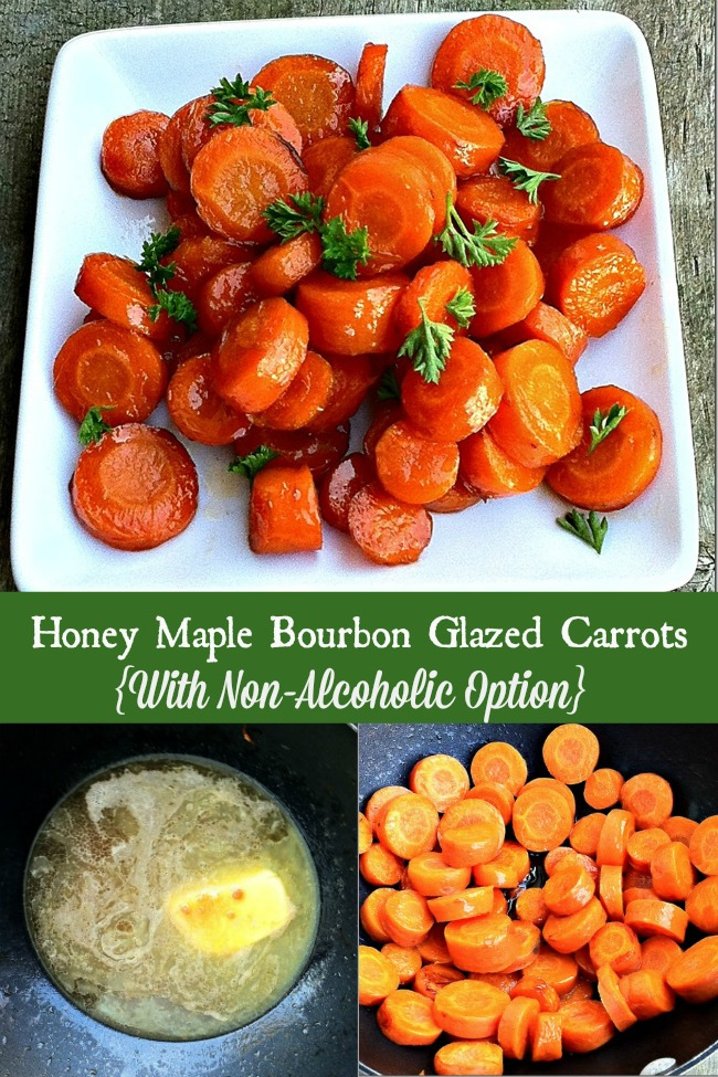 Recipe for Honey Maple Bourbon Glazed Carrots {With Non-Alcoholic Option}