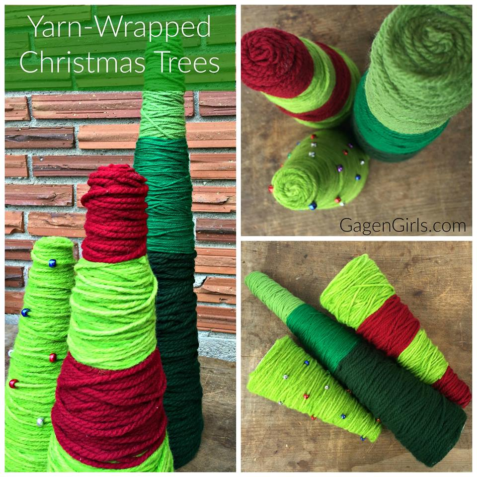 Yarn wrapped christmas trees creative cynchronicity