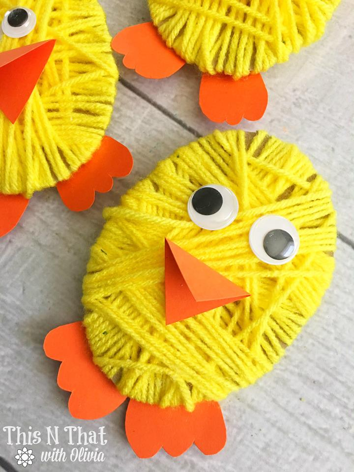 Kid s chick yarn craft tutorial for easter and spring
