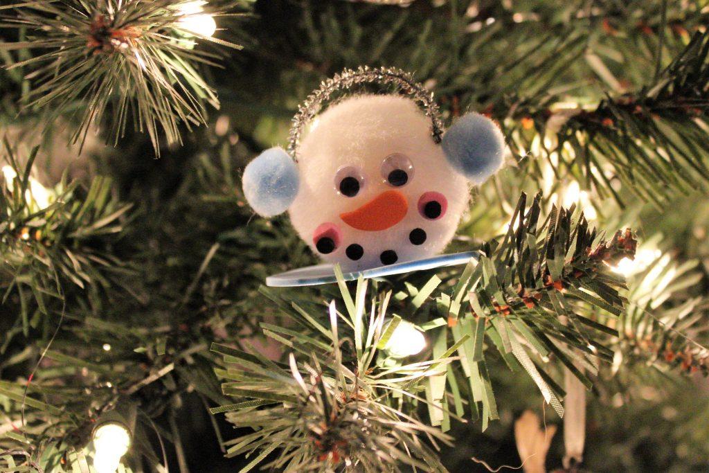 pompom snowman ornament