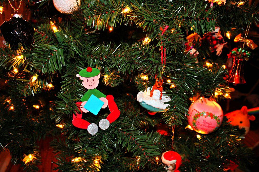 wooden shape elf ornament