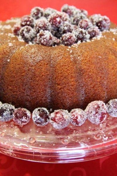 recipe for eggnog bundt cake with sugared cranberries