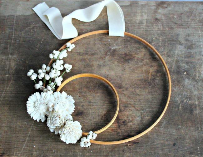 DIY monochrome embroidery hoop wreath