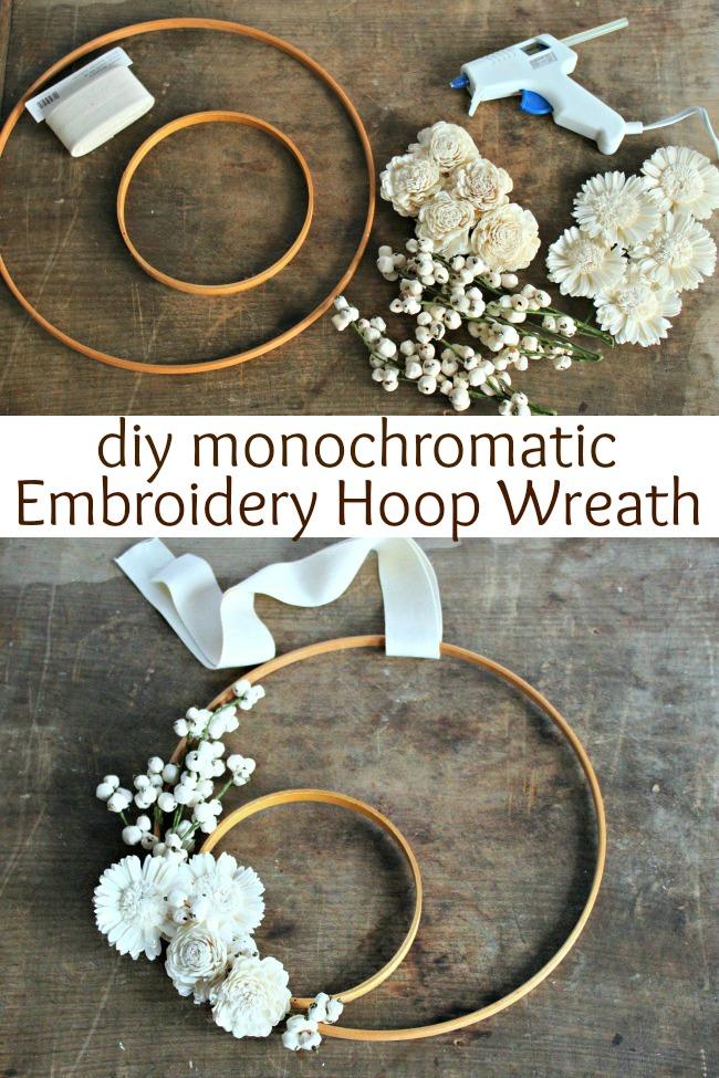 diy monochromatic winter white embroidery hoop wreath