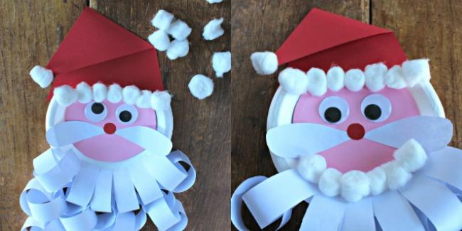 santa beard and hair made with cotton balls