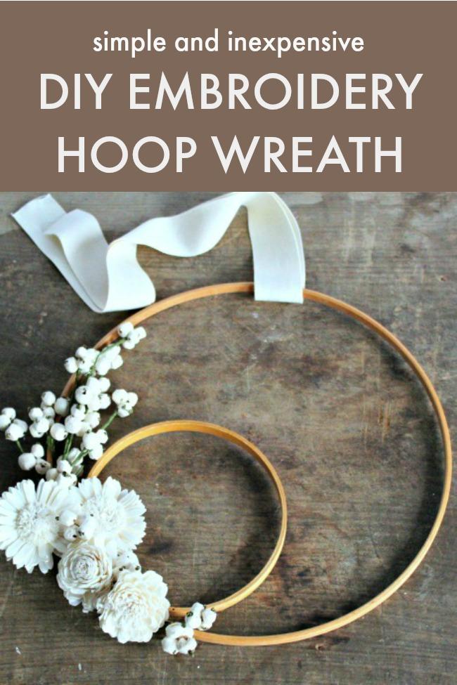 simple inexpensive embroidery hoop wreath