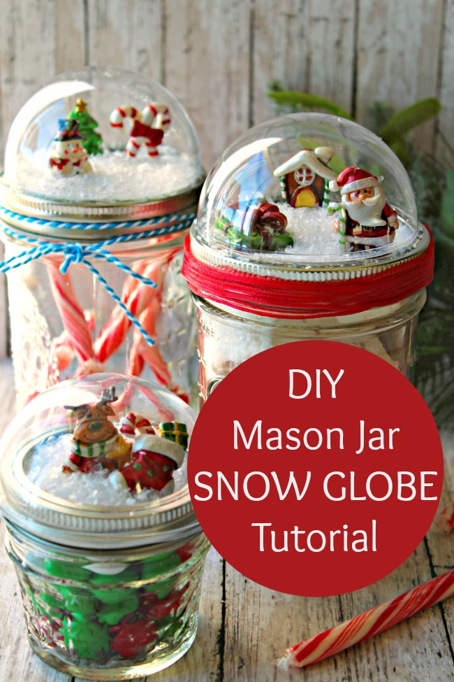 DIY mason jar snow globe craft tutorial