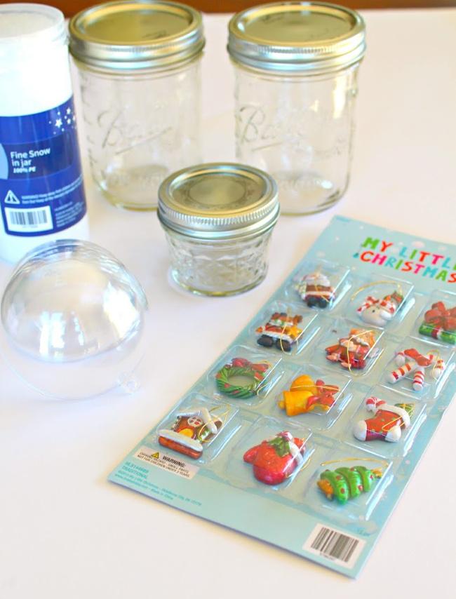 items needed to make mason jar snow globes (1)