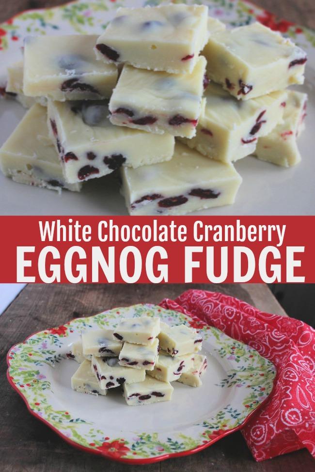 white chocolate cranberry eggnog fudge