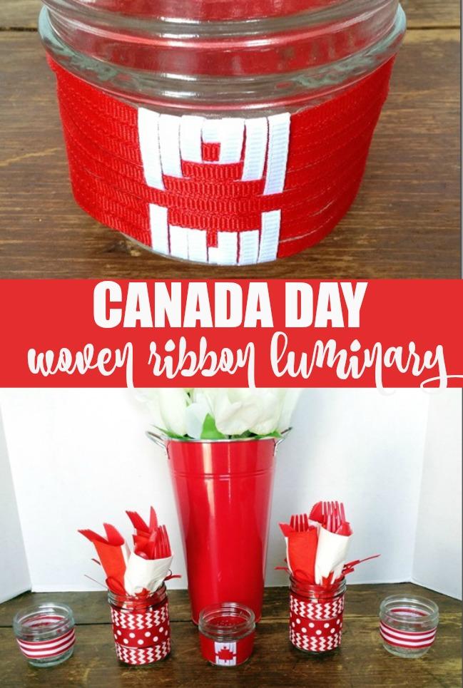 Canada Day woven ribbon luminary