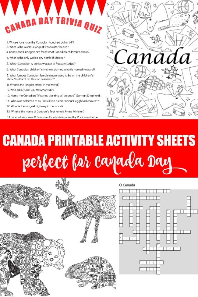Canada printable activity sheets