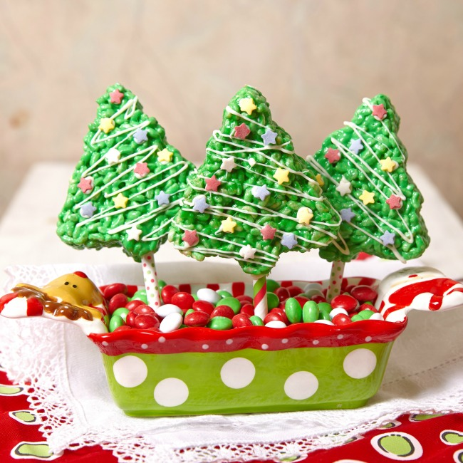 Christmas tree treats made from Rice Krispies