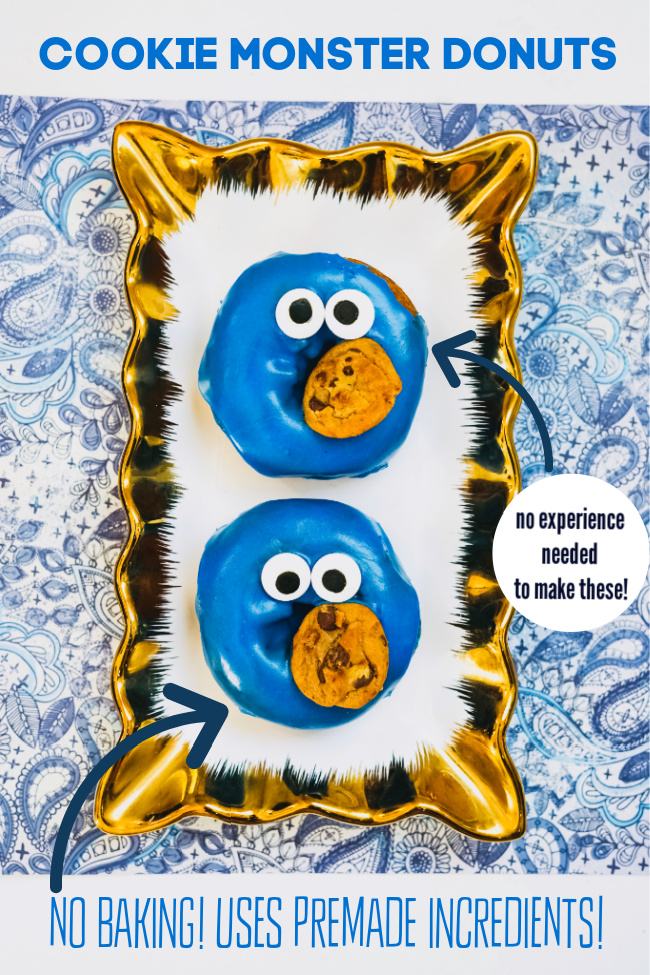 simple to make cookie monster doughnuts