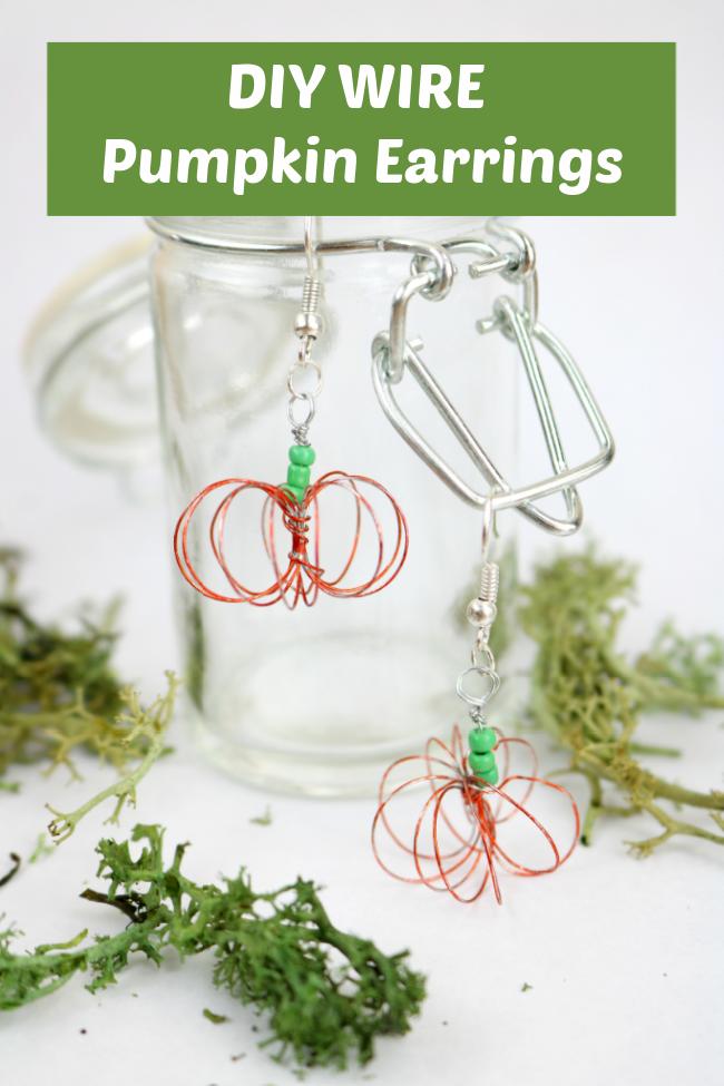 diy wire pumpkin earrings you can make