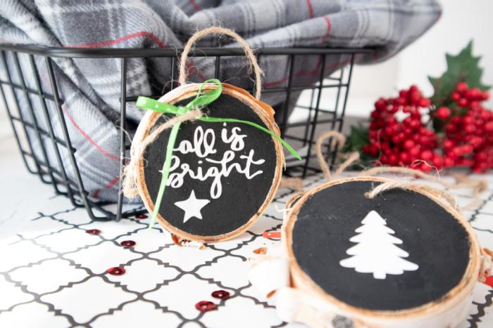 cricut joy wood slice ornaments