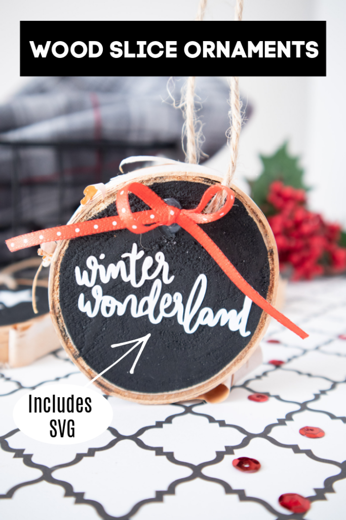 wood slice ornaments with lettering