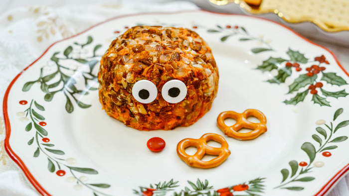 adding eyes to Rudolph cheeseball
