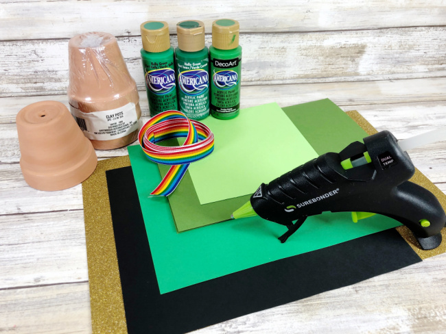 materials needed to make clay pot leprechaun hat