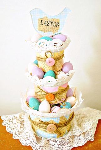 tiered easter basket using yogurt cups