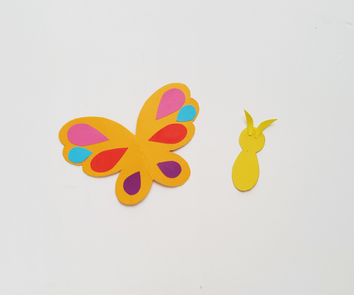 Adding the body and antennae to the butterfly corner bookmarks